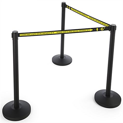 Social distancing stanchion barrier with heavy duty nylon strap