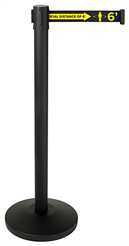 Social distancing stanchion barrier with black powder-coated finish