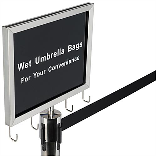 Silver stanchions with umbrella bag holder and welded hooks