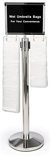 Silver stanchions with umbrella bag holder with 300 clear plastic sleeves