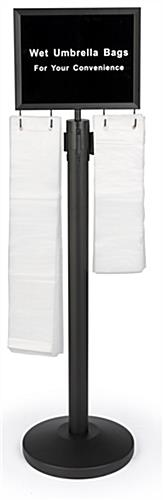 Black stanchions with umbrella bags comes with 150 small and 150 large clear plastic sleeves