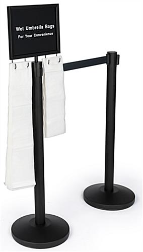 black stanchions with umbrella bags 2-post set