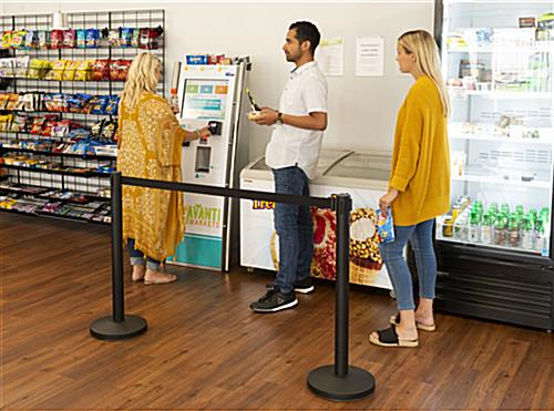 Retractable barrier stanchion with durable and low-cost design
