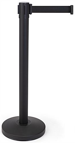 Retractable barrier stanchion with 6.5 foot black nylon belt