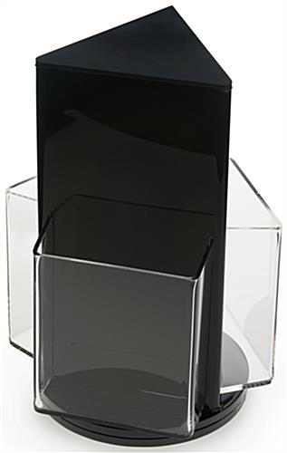 Rotating 3 Pocket Literature Holder on Black Base