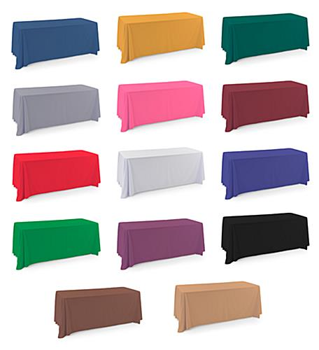 Polyester table covers with fourteen different color options