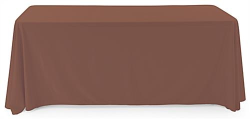 Brown polyester table cover is machine washable