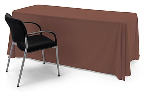 Brown polyester table cover with overlock stitching