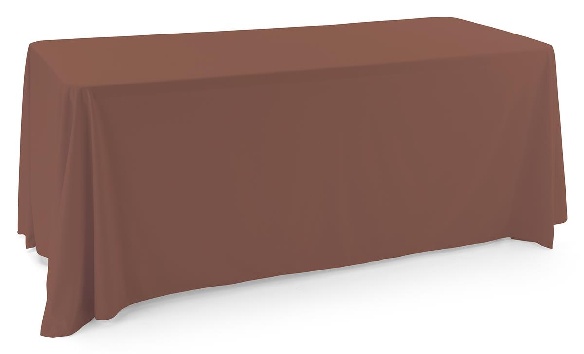 Brown polyester table cover fits 6 foot tables