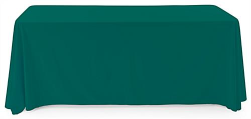 Green polyester table cover comfortably drapes over all 4 corners