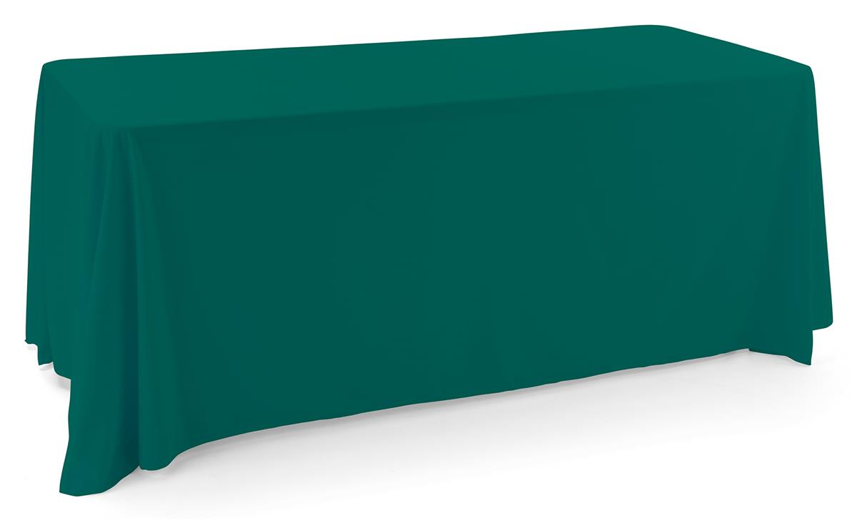 Green polyester table cover with an elegant draping display