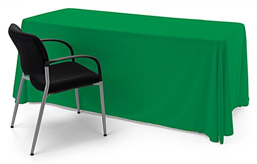 Kelly Green polyester table cover is easy to clean