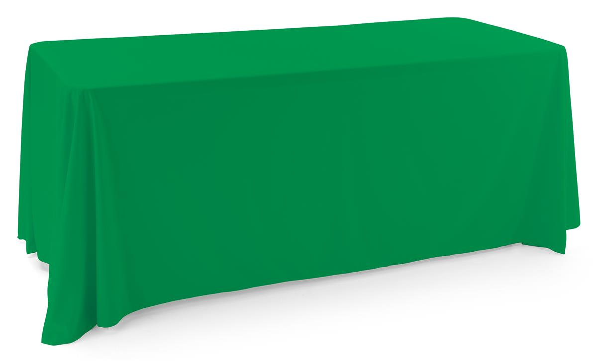 Kelly green polyester table cover is machine washable