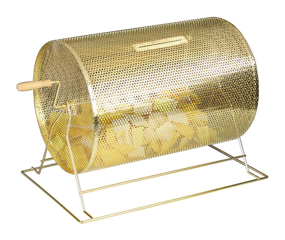 Brass Raffle Drum Countertop Stand Wood Handle