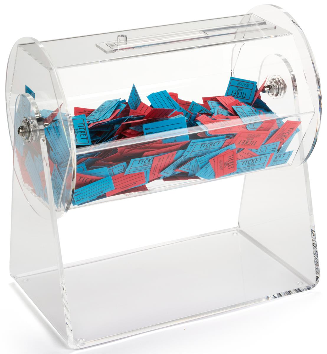 Locking Raffle Drum Acrylic Tumbler Display With Carry