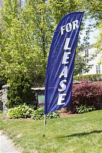 Outdoor FOR LEASE blue realtor flag banner