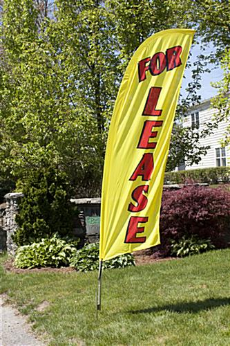 Outdoor FOR LEASE yellow advertisement flag