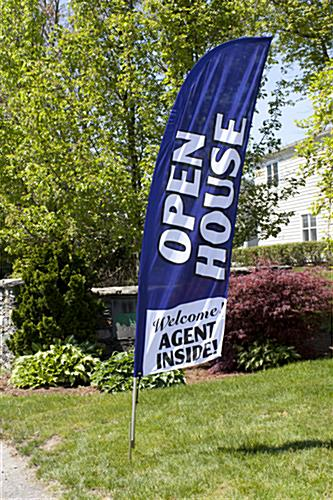 Outdoor OPEN HOUSE Blue Feather Flag