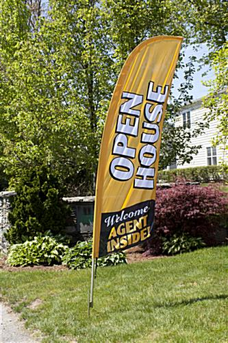 OPEN HOUSE Gold Advertising Flag for Outdoor Use
