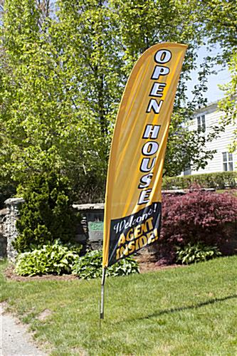 OPEN HOUSE Vertical Gold Marketing Flag for Outside Use