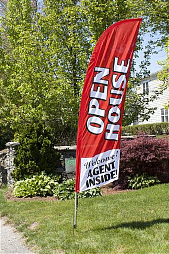 Outdoor OPEN HOUSE Red Feather Banner