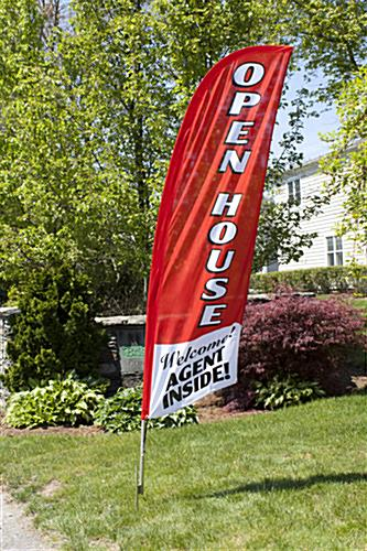 OPEN HOUSE Vertical Red Flag Banner for Outside Use