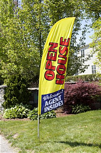 OPEN HOUSE Yellow Message Flag for Outdoor Use