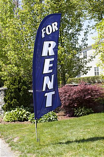 Outdoor-rated FOR RENT Blue Advertising Flag Banner