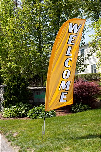 Polyester WELCOME gold advertising flag banner
