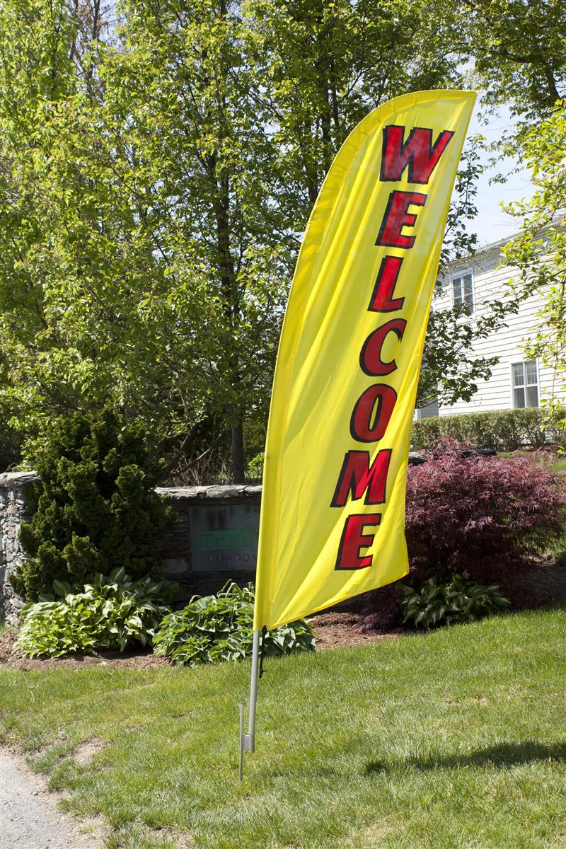 Outdoor Message Flags For Real Estate Yellow Welcome Banner