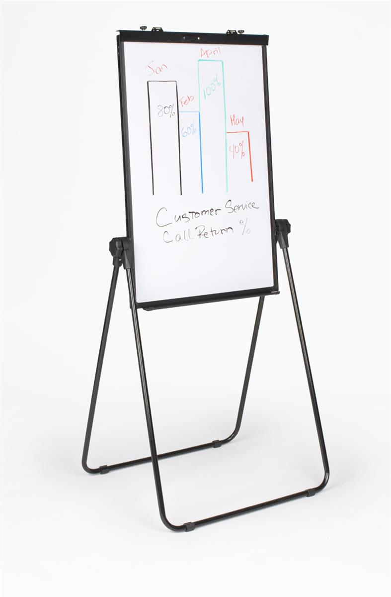 Displays2go Double-sided Dry Erase Whiteboard Easel, Floo...