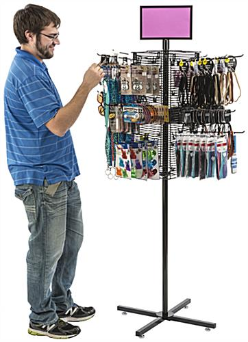"Rotating Grid Rack with 12"" Pegs for Ample Merchandise"