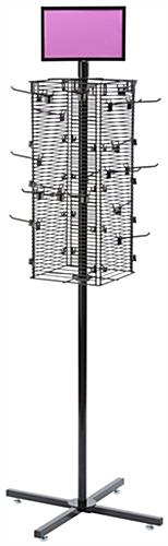 "Rotating Grid Rack with 4"" Pegs Includes 20 Hooks"