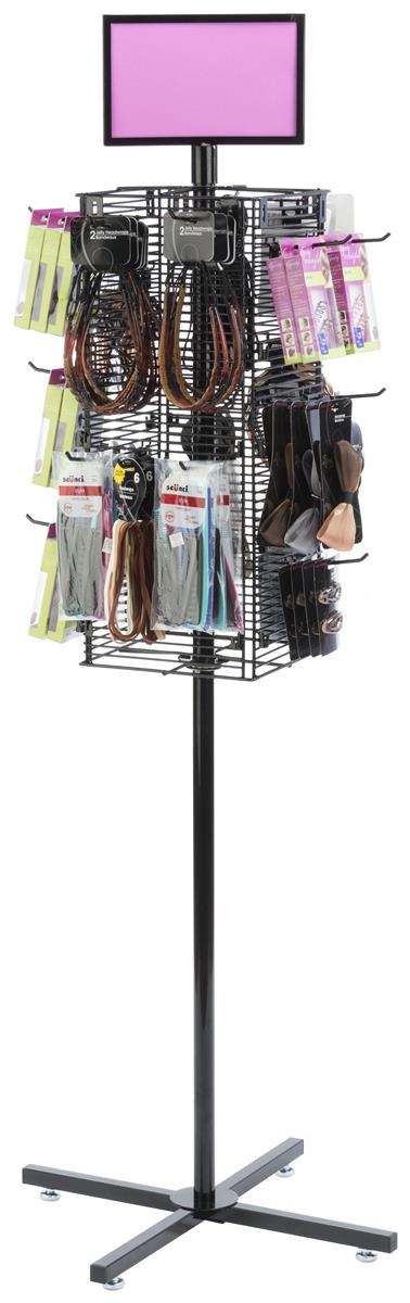 Rotating Grid Rack With 4 Pegs Black Wire Display Hook