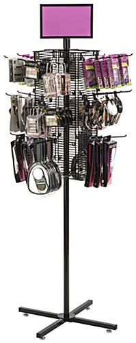 "Rotating Grid Rack with 8"" Pegs for Variety of Products"