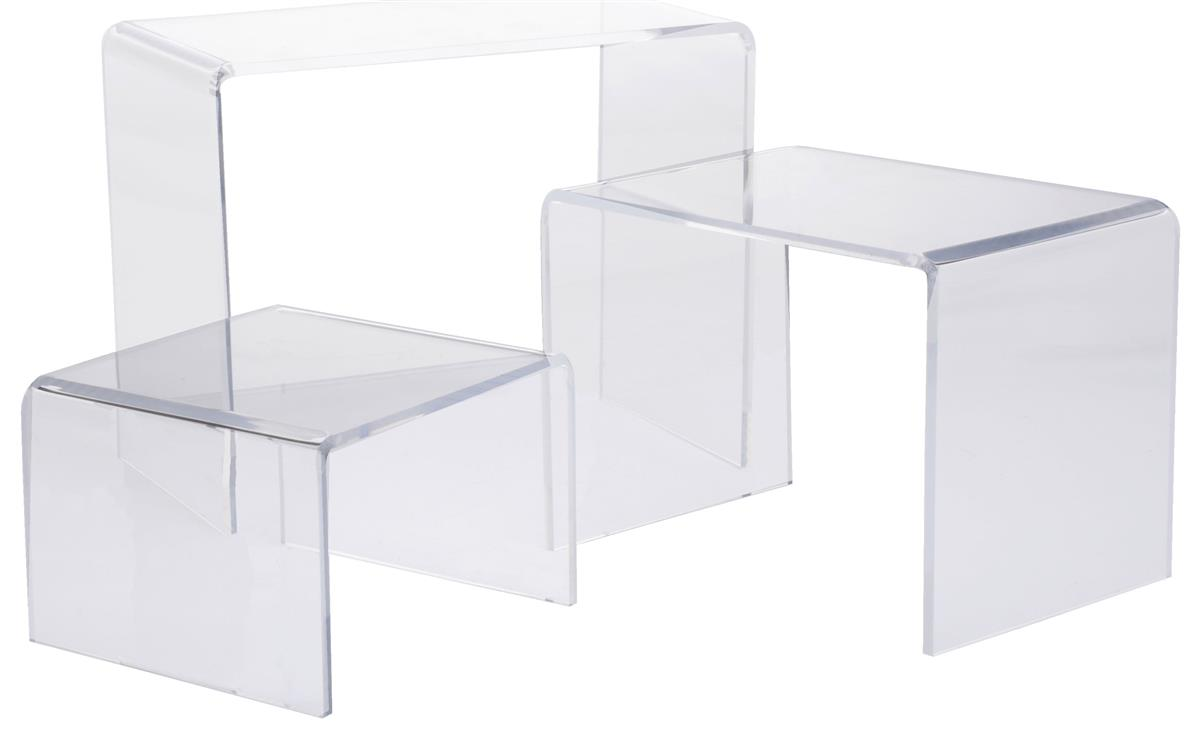 "Displays2go U-Shaped Acrylic Risers, Set of 3 - 6"", 8"" an..."