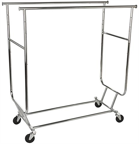 Collapsible Doublerail Garment Rack With Top Shelf The