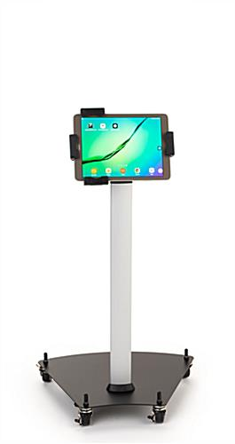 Rolling iPad stand with height adjustable design