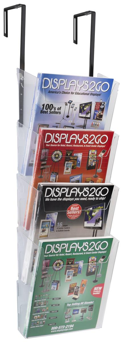 4-Tiered Hanging Literature Pocket Holder, Fits 8.5� x 11� Materials, Acrylic - Clear