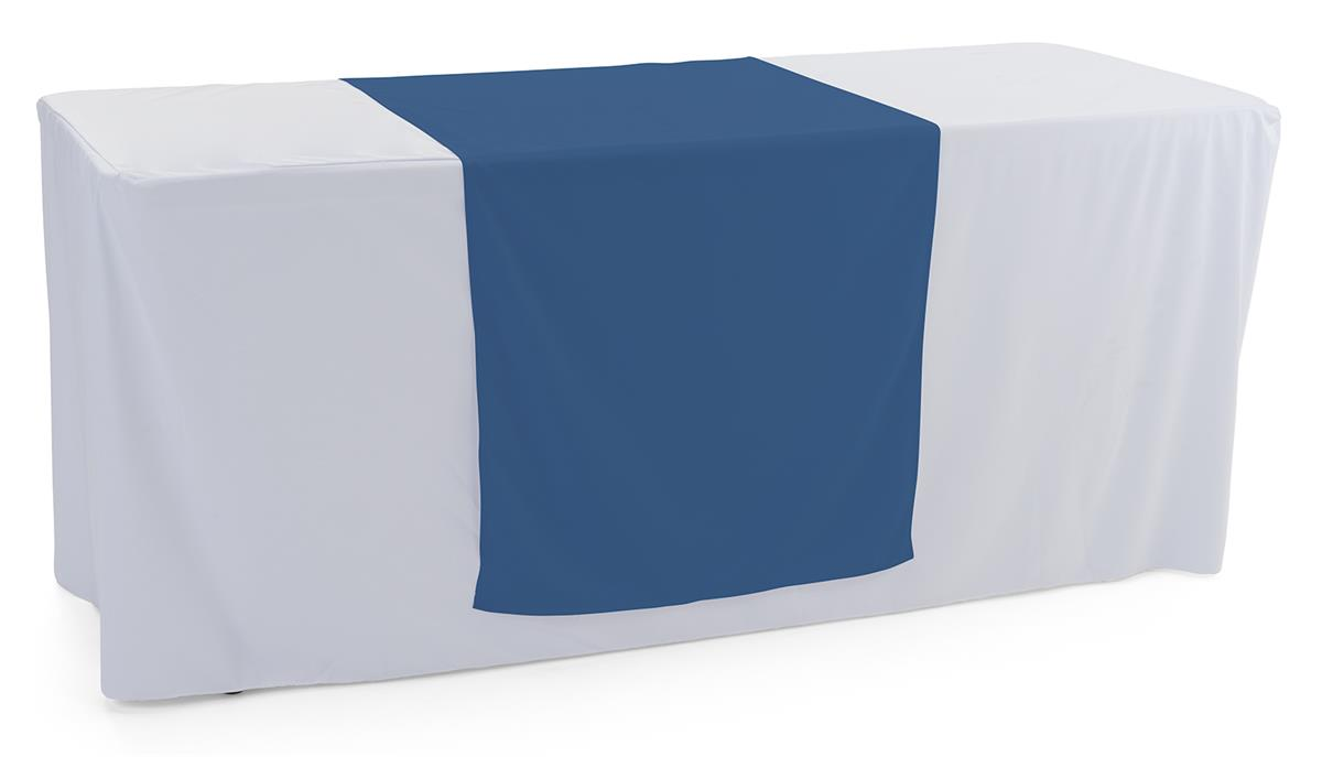 Dark blue table runner with flame retardant polyester material