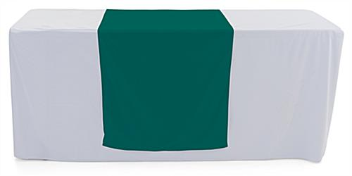 Dark green table runner with machine washable fabric