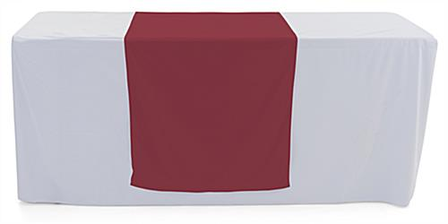 Burgundy table runner with flame retardant fabric