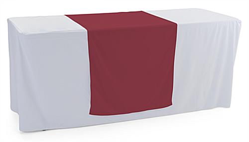 Burgundy table runner with overall width of 30 inches