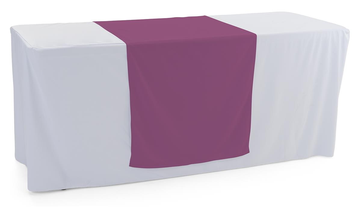 Purple table runner with flame retardant finish