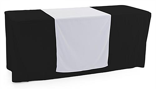 White table runner with flame retardant finish