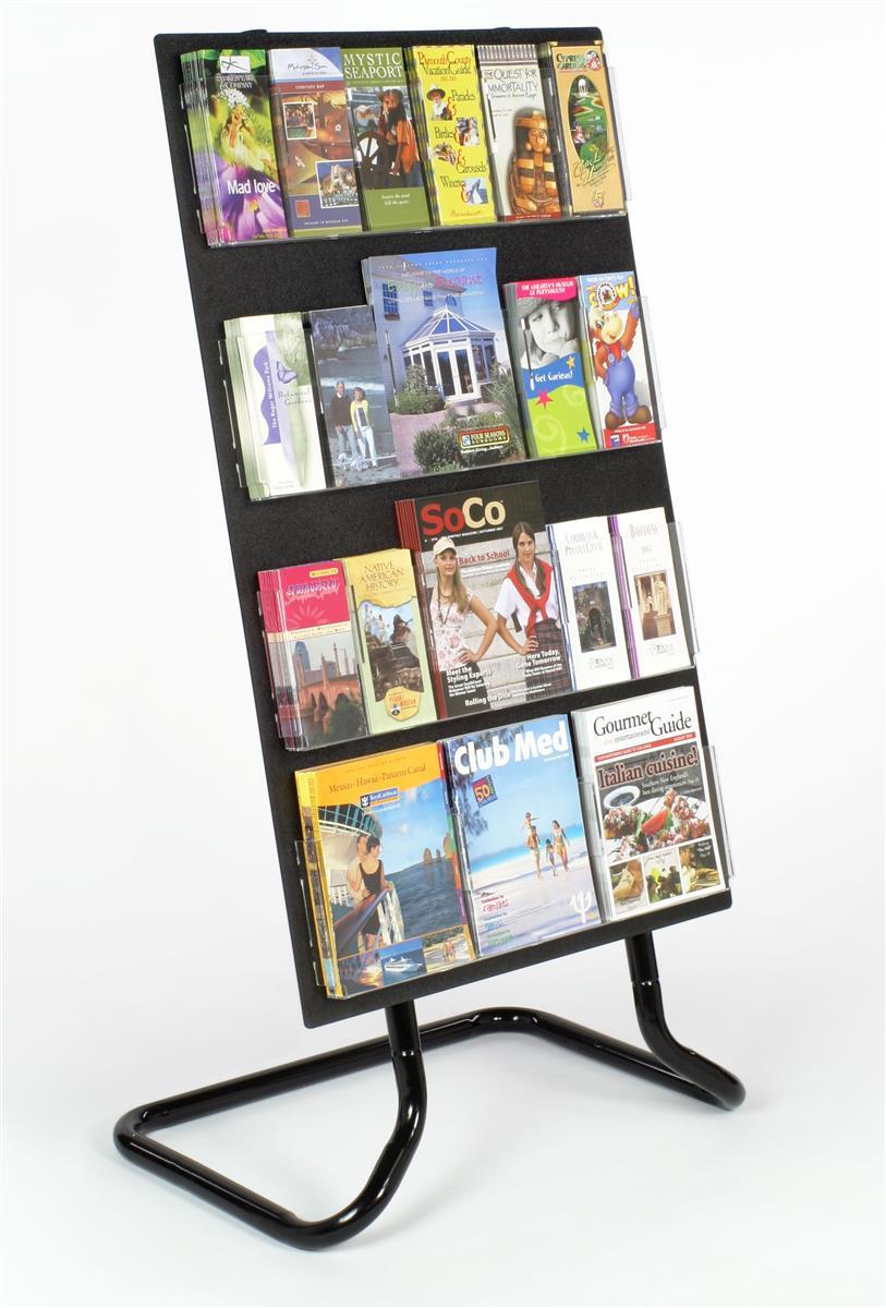Displays2go 4-Tiered Acrylic Literature Stand, 24 Adjusta...
