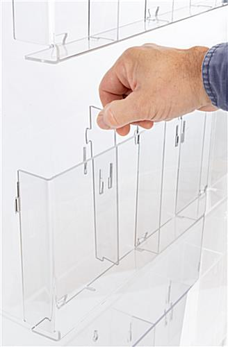 Adjustable acrylic floor brochure display stand with removable dividers