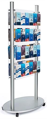 Adjustable acrylic floor brochure display stand for a variety of literature sizes