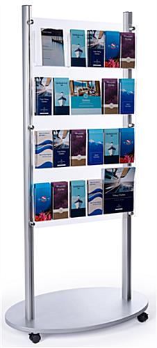 Adjustable 4-tier floor magazine stand with silver base