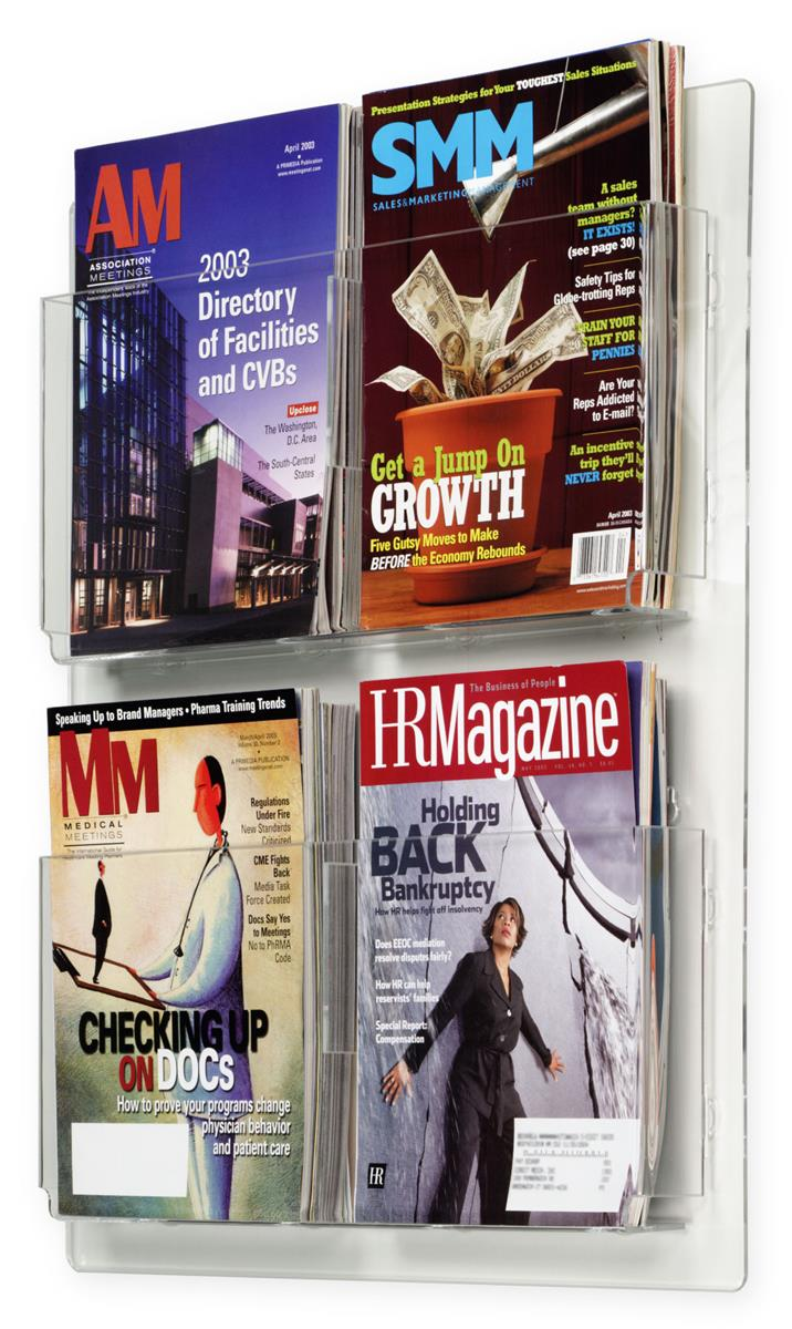 Wall Mount Literature Display W Four Adjustable Acrylic